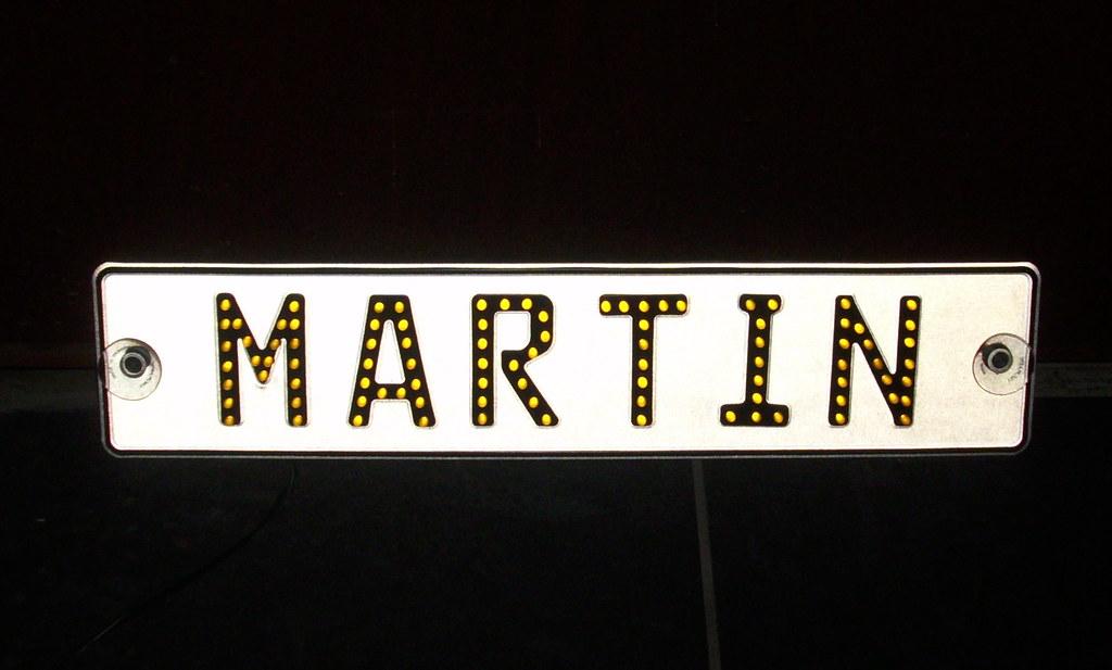 lkw funschild namensschild martin led gelb 24v. Black Bedroom Furniture Sets. Home Design Ideas