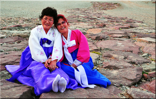 The Hanbok Ladies...having a rest after treking Asia's longest and oldest stone bridge :)