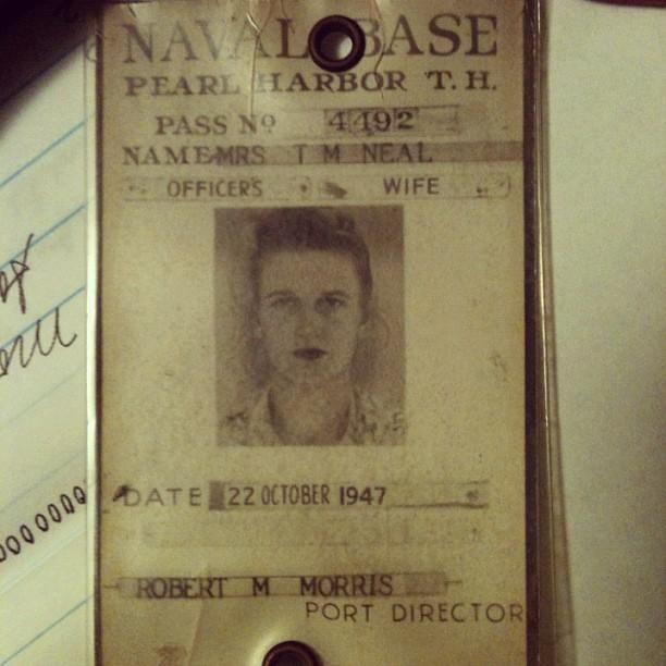 Grandma's ID Badge, Pearl Harbor 1947
