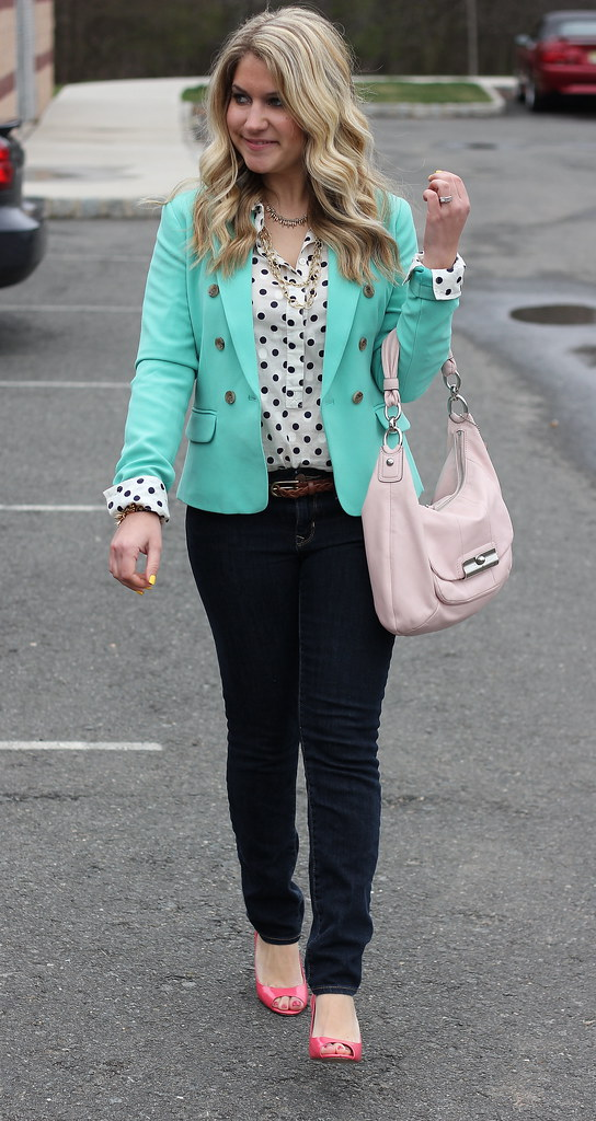 mint blazer and polka dots