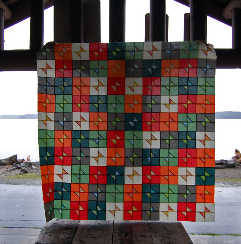 """Rainbow Pop"" bow-tie block quilt"