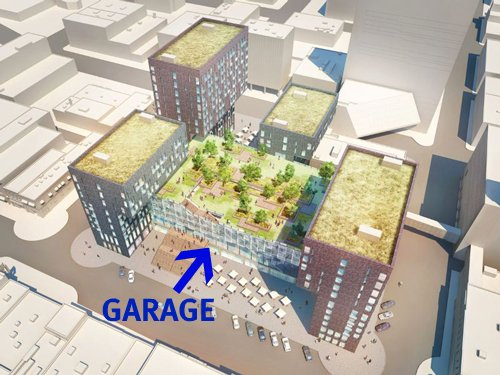 design for green-roofed parking garage, Fargo (via Architecture View)