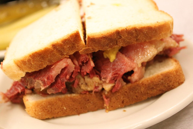 corned beef on white with mustard
