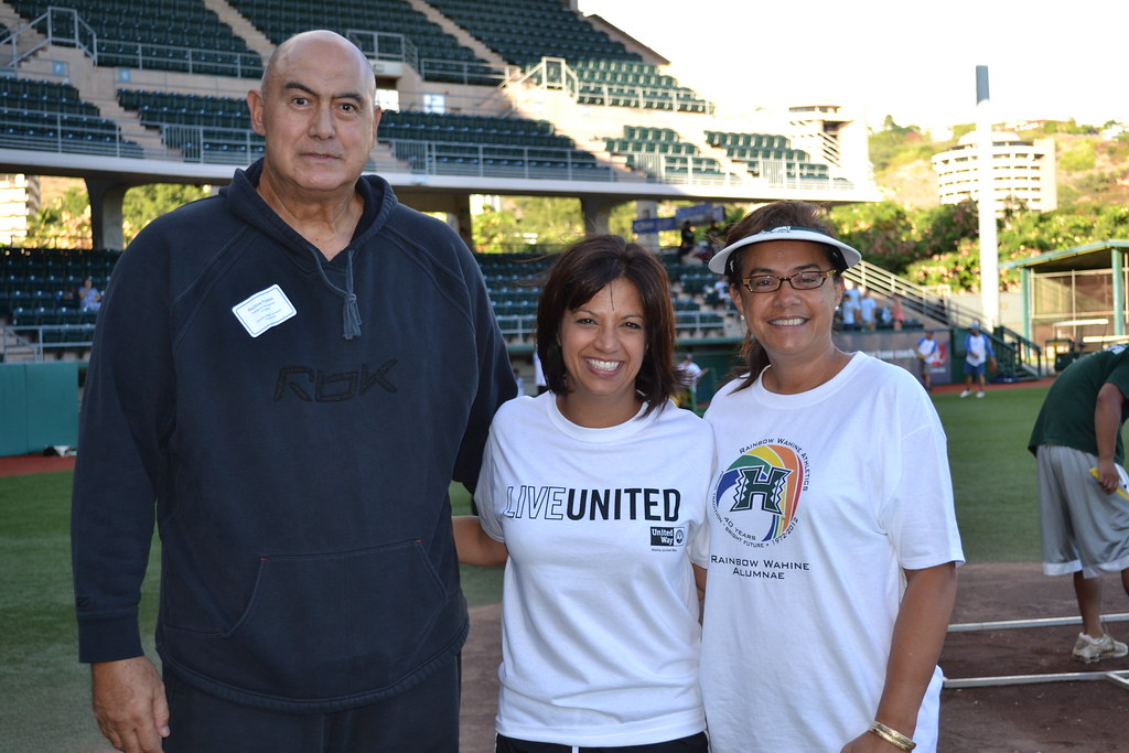 <p>The first pitch was delivererd by AUW President Kim Gennaula, center, with UH Manoa Assistant Athletics Director Marilyn Moniz-Kahoohanohano batting and UH Vice President for Student Affairs and University/Community Relations Rockne Freitas catching at the UH AUW Softball Tourment at Les Murakami Stadium on Sept. 30, 2011</p>