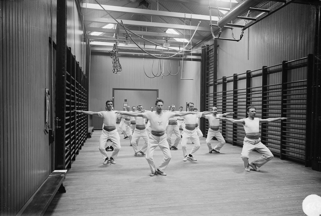 Men on gym in Stockholm 1927