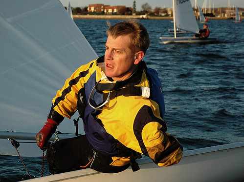 Steven Kirkpatrick Flies by the Laser Fleet 413 Committee Boat - Newport, Rhode Island by misterfoto