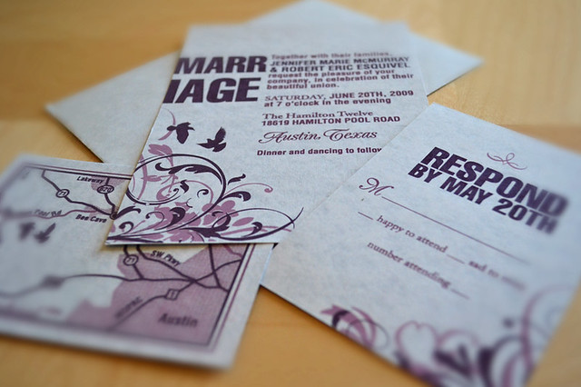 screenprinted wedding invitations Printed at the Foundry Austin TX