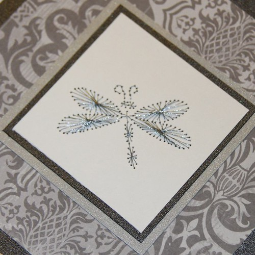 Silver and dark grey embroidered 5x5 picture