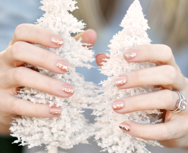nude nails with gold glitter - white christmas trees