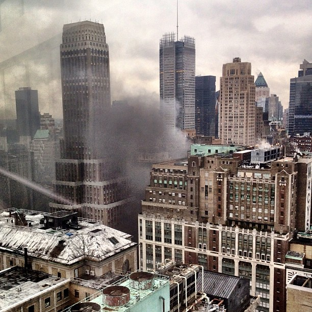 Tons of smoke coming from midtown near Macy's