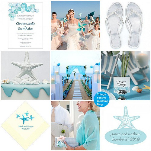 blue beach wedding theme