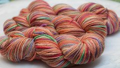 """Thanksgiving"" on Luxury Cashmere/Superwash Merino DK and Spirit Bulky Merino. (...a time to dye)"