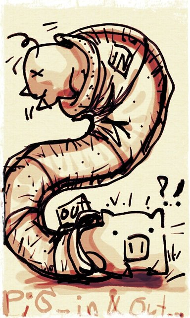 sketch on mobile : Pig in & out !!!!