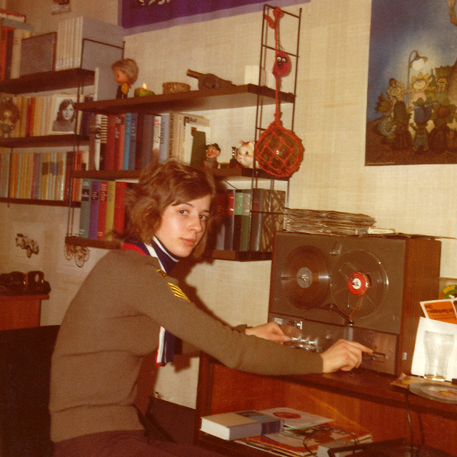 Teenager Girl doing tape recording