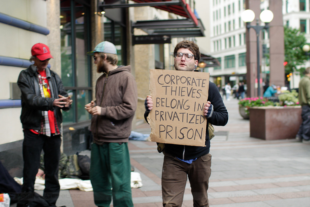 occupy seattle - corporate thieves sign