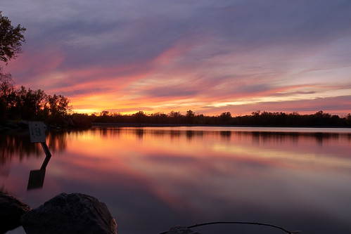 sunset ohio sky lake reflection water clouds nikon loramie d7000