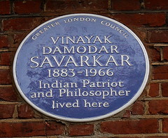 Photo of Vinayak Damodar Savarkar blue plaque