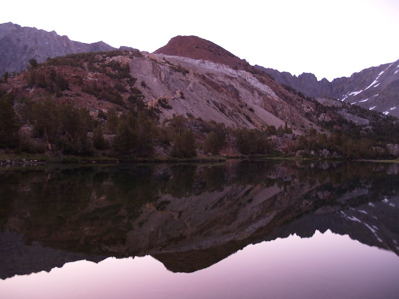 Chocolate Peak dawn alpenglow reflection on Long Lake
