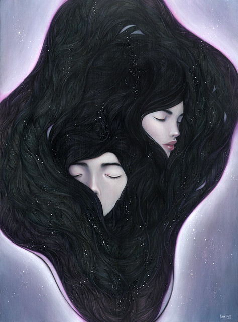 "If I Could Hide In Your Dreams. 18"" x 24"".  Acrylic & Colored Pencils on Panel. ©2011."
