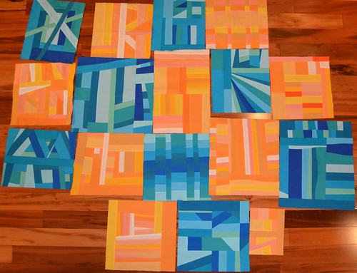 Aqua and Orange Bee blocks so far