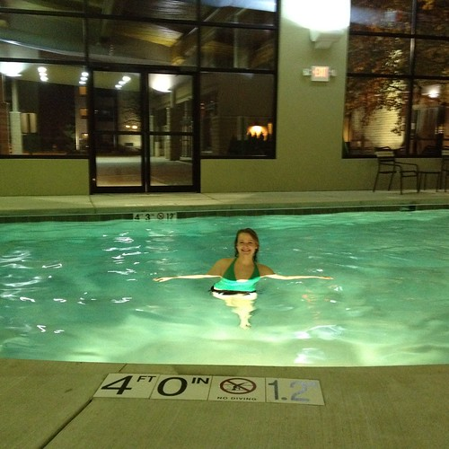 me in pool at Hyatt Place hotel milwaukee west