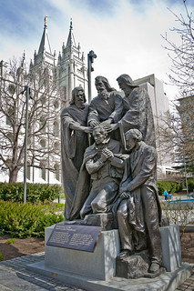 Image of Restoration of the Melchizedek Priesthood. travel winter vacation sculpture march utah nikon telephoto saltlakecity mormon nikkor dslr macosx templesquare 2012 lightroom d90 18105mm lightroom3 2010s 18105f35 restorationofthemelchizedekpreisthood