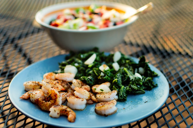Shrimp, Kale, Turnips, and Salad.