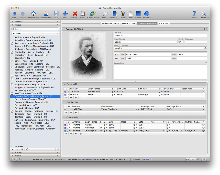 Heredis for Mac 2012 - Entering Data Using Drag and Drop