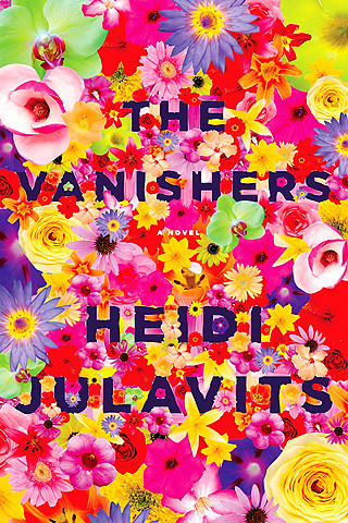 cover of the novel the vanishers, which is covered in illustrations of bright flowers with bold navy text