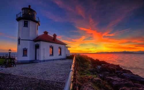 Alki Point Lighthouse Sunset