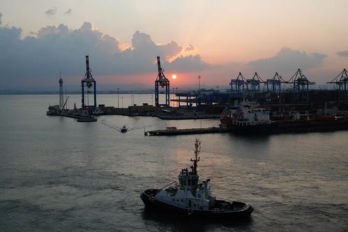 port sunrise israel cloudy tugboat haifa