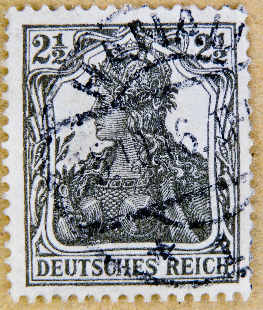 Old German Stamp 25 Pf 2 1 Pfennig Germany Deutsches Reich