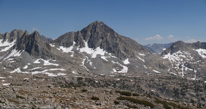 Dusy Basin panorama of Isosceles Peak, Columbine Peak, and Knapsack Pass
