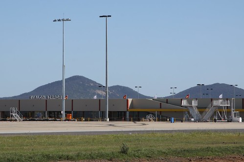 Departures terminal at Avalon Airport, airside with the You Yangs behind