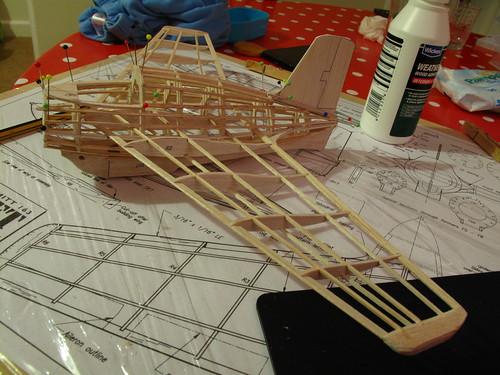 Gluing stringers to top of me163 fuselage