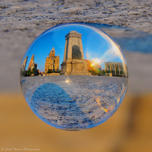 city travel summer newyork glass nikon bokeh central flip cny syracuse inverted flipped clintonsquare cystalball d700 yourphototips scottthomasphotography onondagacountry afsnikkor28300mmf3556gedvr