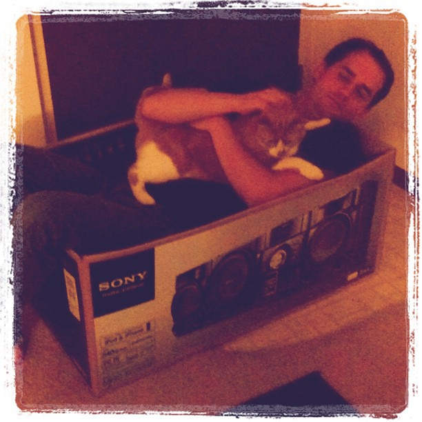 Instagram - Ryan and Auggie in a box