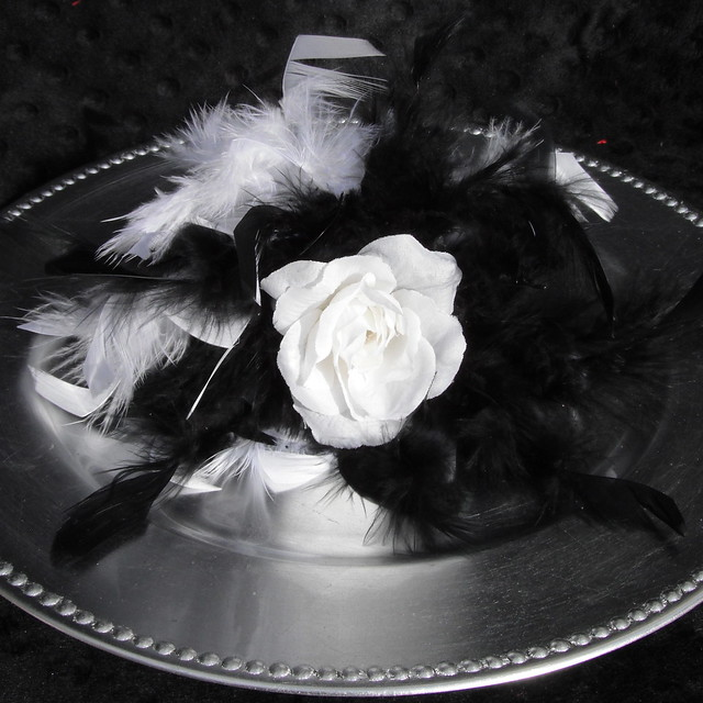 WHite and Black Wedding Bouquet 1 Open Rose