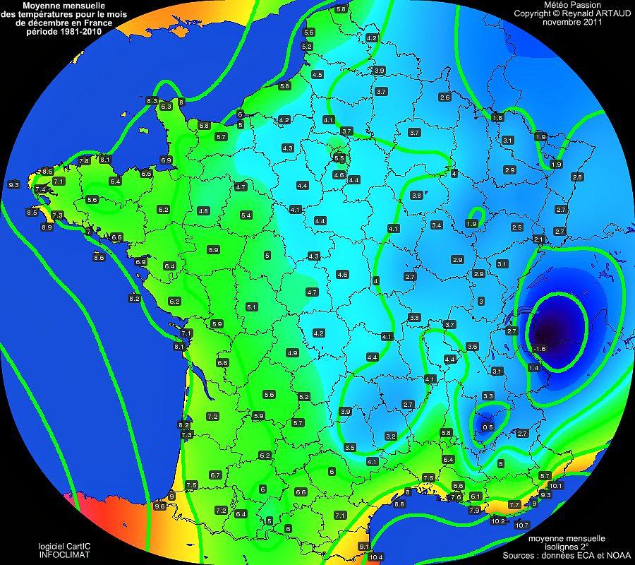 Moyennes mensuelles des températures pour le mois de décembre en France sur la période 1981-2010