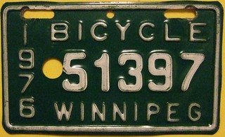 WINNIPEG MANITOBA 1976 ---BICYCLE LICENSE PLATE