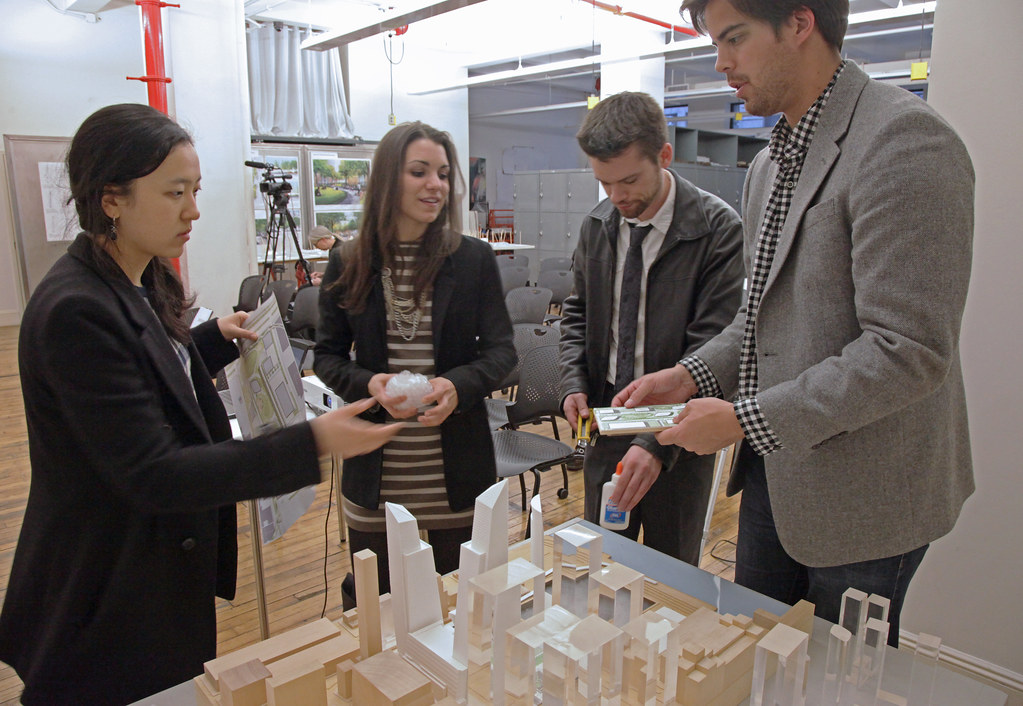 KPF associates assemble the Hudson Yards site model prior to the Goldsmith lecture.
