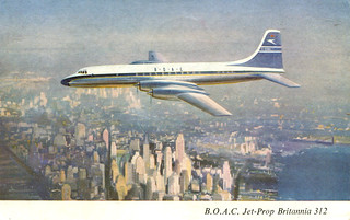 New York - BOAC Britannia Jet-Prop (Postcard)