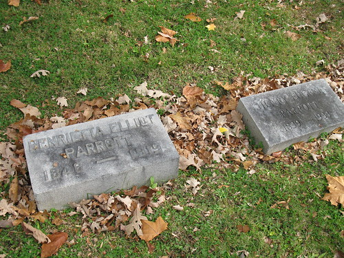 Gravestones of Henrietta and H. Eugene Parrott, Woodland Cemetery, Section 103