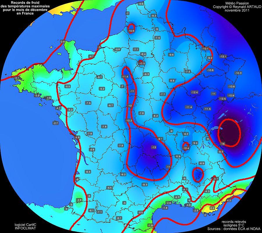 records mensuels de froid ou de fraicheur des températures maximales pour le mois de décembre en France Reynald ARTAUD météopassion