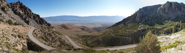 Onion Valley Road panorama - winding road heading down into the Owens Valley