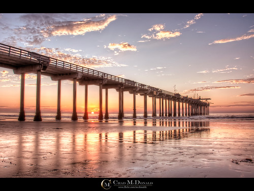 ocean california ca sunset sky orange sun west beach water clouds reflections concrete coast pier waves pacific sandiego chad lajolla pillars shores hdr mcdonald ucsd scripps scrippspier