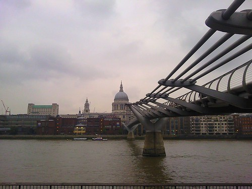 Millenium Bridge from Tate Modern looking toward St Paul's in London