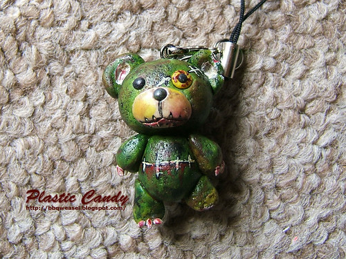 Zombie bear phone charm