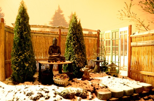 Spring hail, Buddha, garden work in progress, night, trees, Japanese stone lanterns, Seattle, Washington, USA by Wonderlane