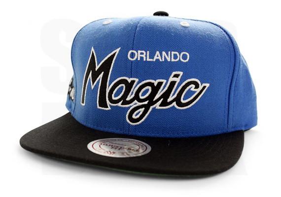 quality design ec62a d4b4f ... NBA Mitchell   Ness - Orlando Magic Snapbacks Caps Script Hats -  Blue Black
